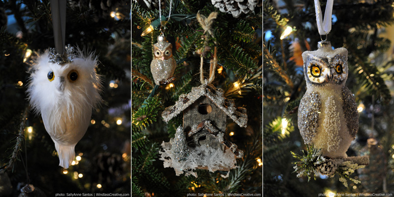 Owl Christmas tree ornaments