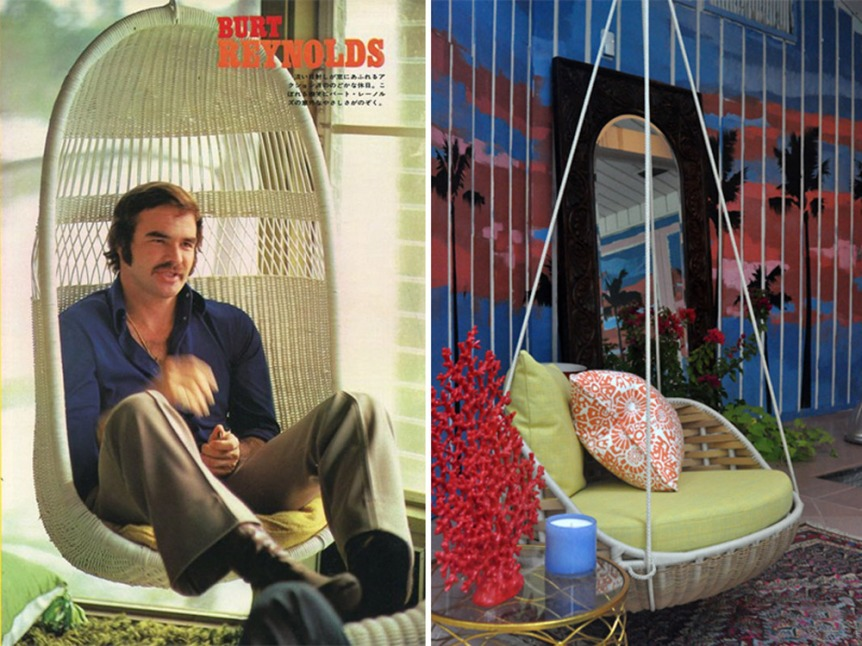 The swinging 70's saw another modern resurgence in popularity of rattan furniture. At left Burt Reynolds magazine cover, at right, Swing Chair featured in Designer Showhouse, now available at Swift Morris Lucky Finds!