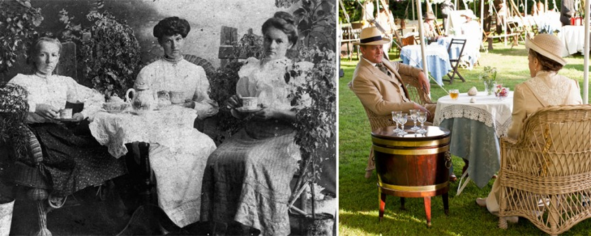 Germophobic Victorians favored rattan over upholstered furniture for it's ease of cleaning. Edwardians continued the tradition as seen here at Downton Abbey's garden party.